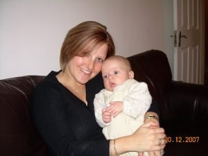 Jen with Daniel when Daniel was a baby